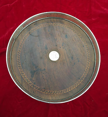 """Antique Reed & Barton Sterling Silver Inlaid Mahogany 10.25"""" Footed Gallery Tray"""