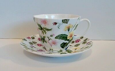 Rosina Queens Country Meadow Tea Cup & Saucer Pink Lavender Yellow Blue EUC