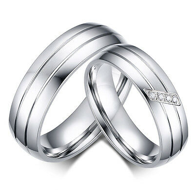 Silver His and Hers Ladies Mens Wedding Engagement Couple Ring Band SET Size M Z