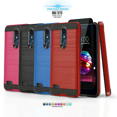 Brushed Armor Hybrid Cover Phone Case For [Huawei Sensa Lte] +Tempered Glass