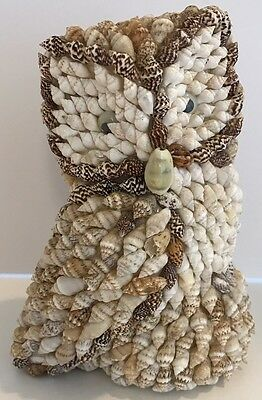Vintage Owl figurine covered in tiny sea shells. Decor