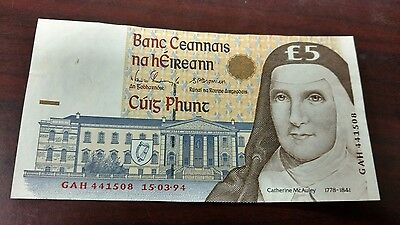 1994 Central Bank of Ireland 5 Pound Note
