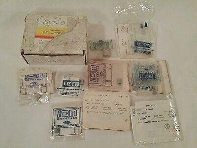 VINTAGE 1970's - 80's UNUSED 13 ELECTRONIC PAGER CRYSTALS, w/ ORIGINAL INVOICES