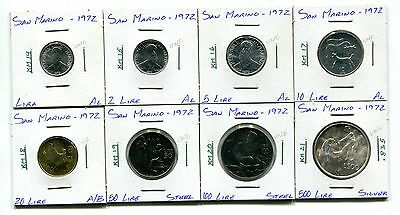 San Marino : 1972 Lot of 8 different uncirculated coins with silver
