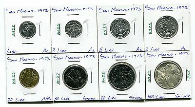 San Marino : 1973 Lot of 8 different uncirculated coins with silver