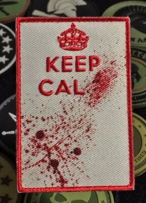 KEEP CALM Morale Patch Blood Crown Red TOP QUALITY Hook and Loop Backing 210