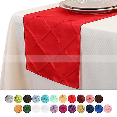 1/5/10/20pcs 12x108 inch Pintuck Table Runner Cloth Linens Cover Wedding Party