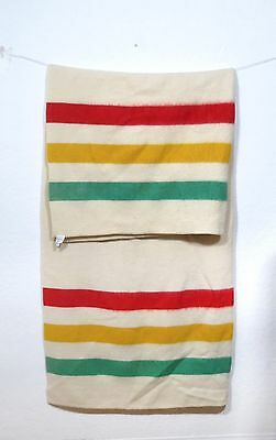 Vintage Striped Stripes Wool Blanket Red Green Yellow not Hudson Bay camp west