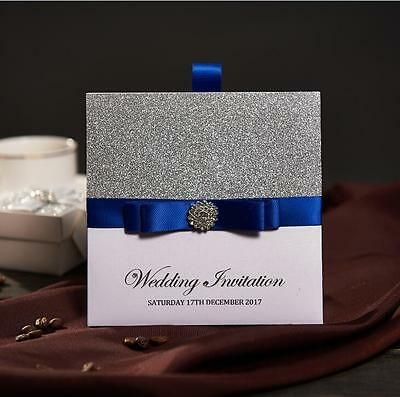 50 Traditional Pocket Wedding Party Invitations With Blue Ribbon & Buckle NK741