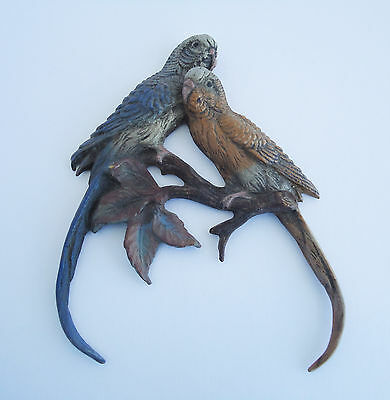 Vienna Austria Antique Cold Painted Bronze Two Parrots Figurine Highly Rare!