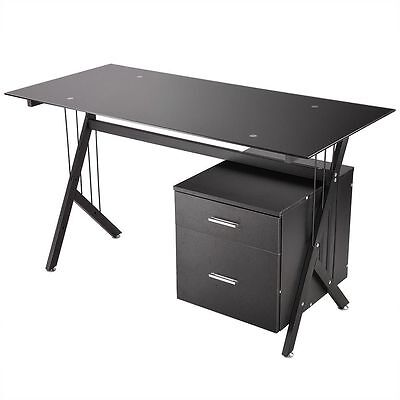Tempered Glass Computer Desk PC Laptop Table Workstation Home Office & 2 Drawers