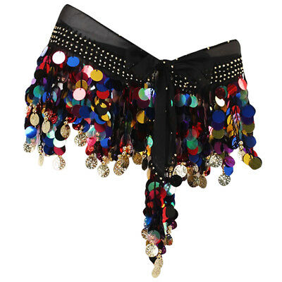 88 Coins Black Belly Dance Skirt Belt Hip Scarf Wrap Multicolored Sequins
