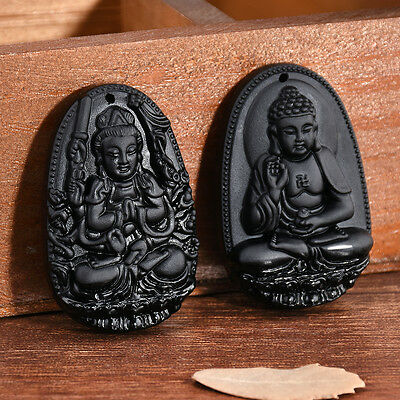Chinese Natural Black Obsidian Carved GuanYin Buddha Lucky Pendants Necklace