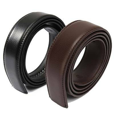 Mens Black Brown Leather No Automatic Buckle Strap Waist Belts Waistband