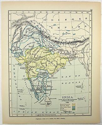 Vintage Map of India in 1785 by Longmans Green 1902
