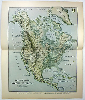 Original 1902 Dated Physical Map of North America by Dodd Mead & Company