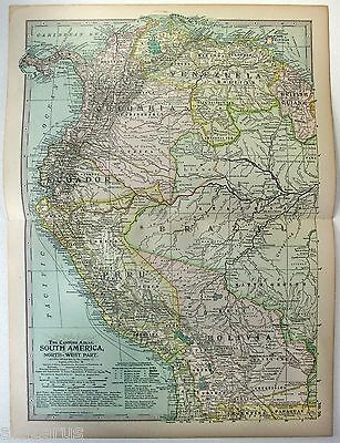Original 1902 Map of NW South America - Venezuela Colombia Ecuador Peru Bolivia