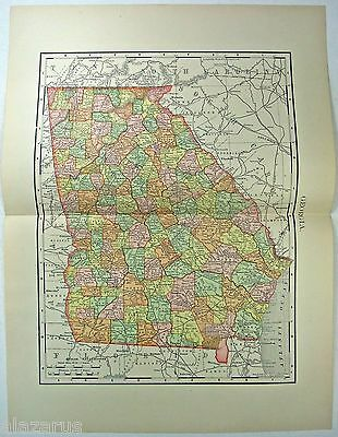 Original 1895 Map of Georgia by Rand McNally