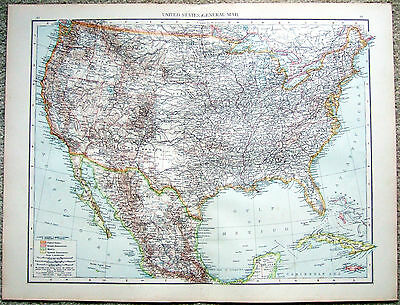 Original 1896 Map of The United States by Velhagen & Klasing