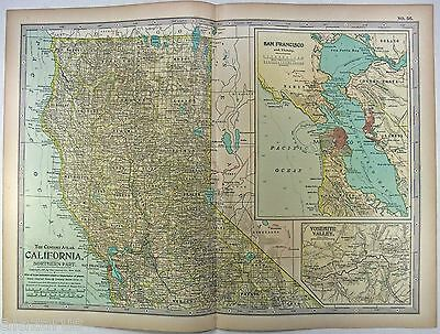 Original 1897 Map of Northern California by The Century Company