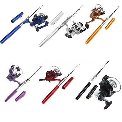 Mini Aluminum Pocket Pen Fishing Rod Pole + Reel Purple Portable Tackle Pro Q0Z4