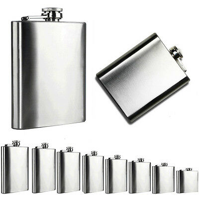 1x Stainless Metal Hip Bar Liquor Whiskey Alcohol Pocket Flask Winebottle 6Size