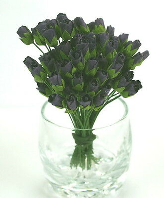MINI ROSEBUDS 10 Pk BLACK - 1cm Buds & 7.5cm long Stem  14 Colours Available GTB