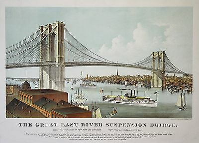 Currier & Ives: Original Farblithografie Brooklyn Bridge New York USA: 1886