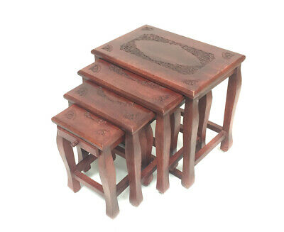Assembled Nest Of 4 Hand Carved Indian Shesham WoodTables Side Coffee Tables