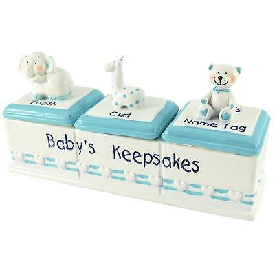 Baby Triple Keepsake Box with Animals - Name Tag, Curl, Tooth - Blue Baby Boy