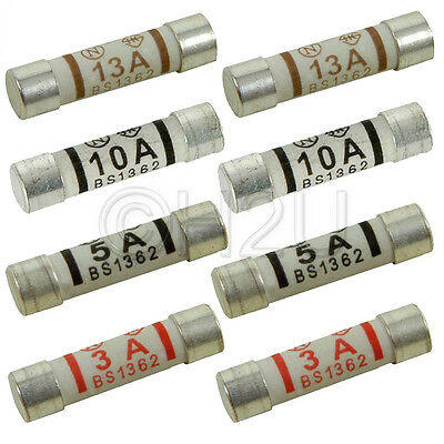 (Pack of 8) 3/5/13 AMP Fuses Domestic Household Electrical Appliances Mains Plug