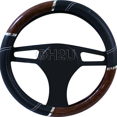 New Steering Wheel Cover Leather & Maple Effect- Patent Wood Look High Quality