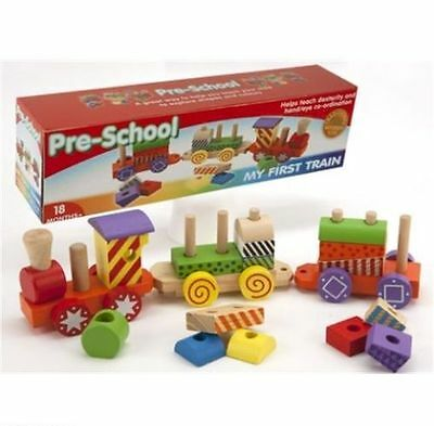 Children Toddler Kids Toy Wooden Pull Along Train Coloured Stacking Block Xmas