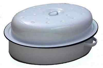 36Cm Falcon Enamel Oval Roasting Tray Tin Oven Roaster Pan Casserole White Lid