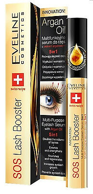 Eveline Sos Lash Booster Serum 5In1 Eyelashes With Argan Oil Conditioner
