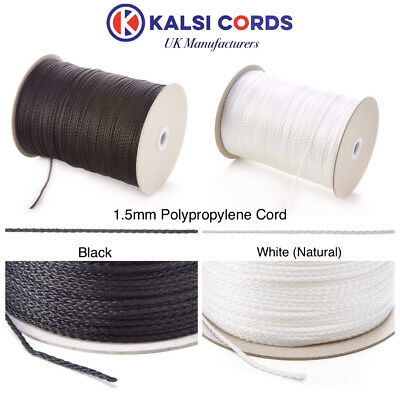 1.5Mm Thin Polypropylene Rope Braided Poly Cord Strong String In Black & Natural
