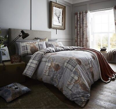 Catherine Lansfield Tartan Check Stag Antlers Duvet Quilt Cover Bedding Set Grey
