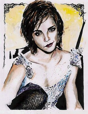 Emma Watson ORIGINAL ART Ink and Watercolor Painting Direct From Artist 11x14