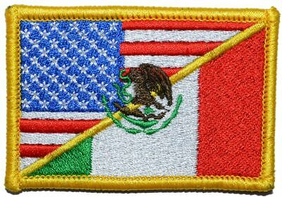 Mexican / USA Flag - 2x3 Military/Morale Patch Hook Backing