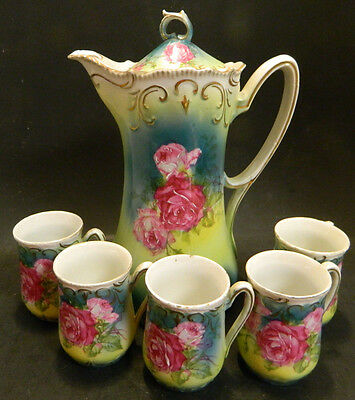 Antique (7) Piece Hand Painted Roses Embossed Chocolate Set (Pot + 6 Cups) Good
