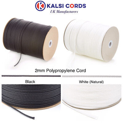 2Mm Thin Polypropylene Rope Braided Poly Cord Strong String In Black & Natural