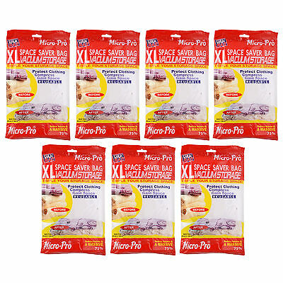 PACK OF 7 VACUUM COMPRESSED STORAGE BAGS SPACE SAVING CLOTHES BEDDING 80x100cm
