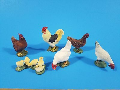 Schleich lot of 6 chicken chicks rooster in very good/excellent condition