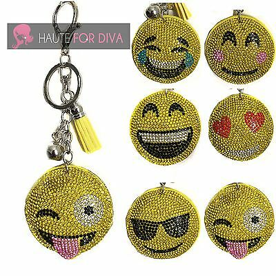 New Emoji Smiley Keyring Handbag Charm Diamonte Wink :) Accessory Glitter Tassel