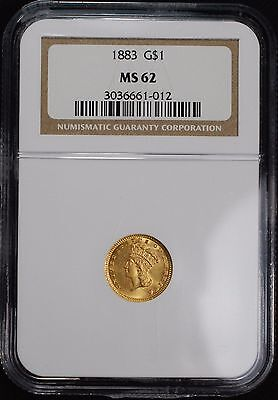 1883 $1 Type Iii Liberty Head Gold Dollar, Ngc Ms62