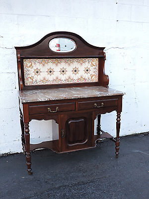 1880's Two-Part Victorian Hand-Painted Tiled Marble-Top Server / Wash Stand 7371