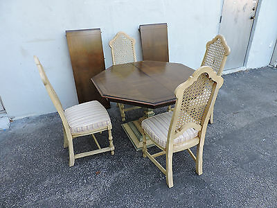 Painted Oak Dining Table with 4 Caned Chairs & 2 Leaves 6300