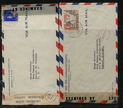 Curacao  2  double  censor covers to  US            MS0110