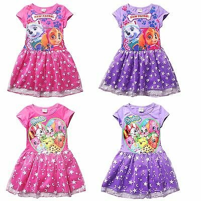 Paw Patrol Kids Girls Teens Cartoon Print Dress Holiday Party Casual Tutu Skirts