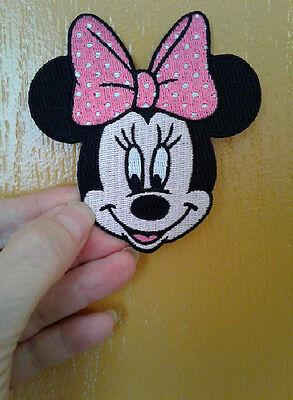 Minnie Mouse - Disney - Pink & White Bow - Fully Embroidered Iron On Patch
